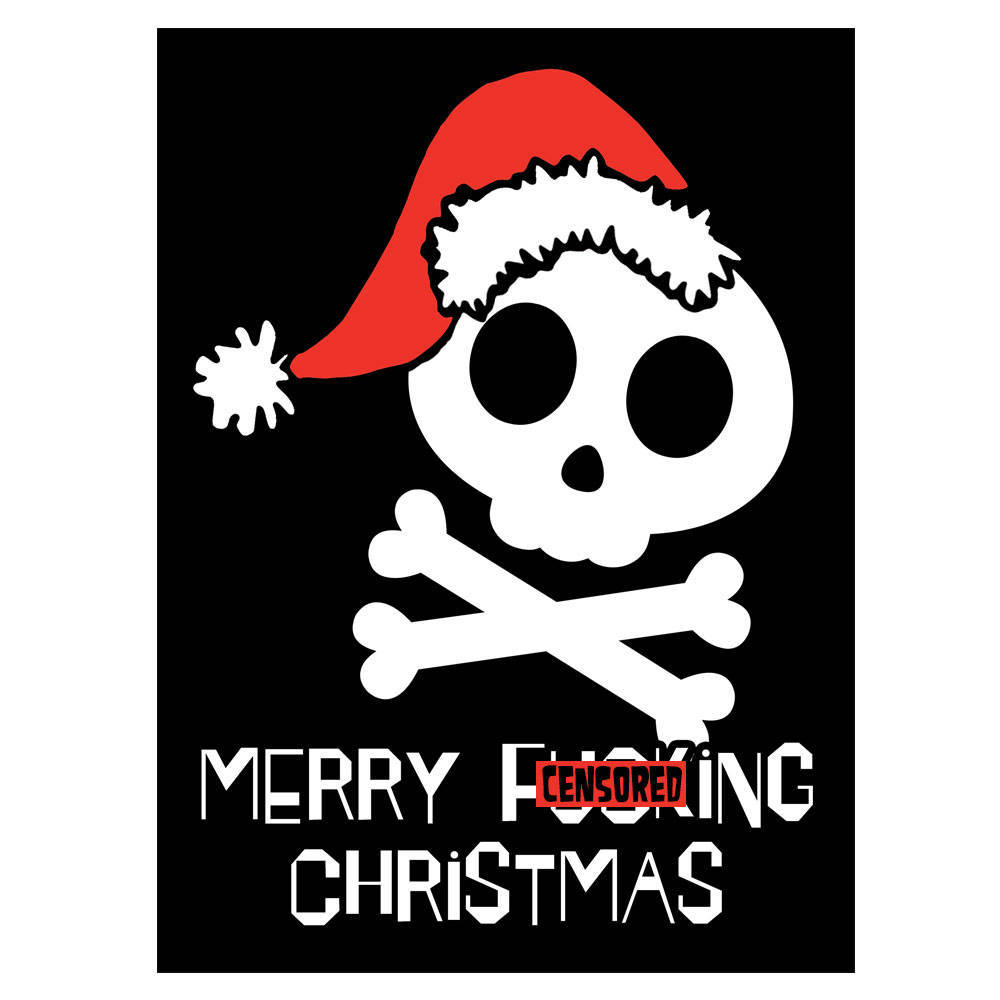 Primary image for MERRY F&%KING CHRISTMAS - Card Santa Skull Seasonal Holidays Xmas Rude Offensive