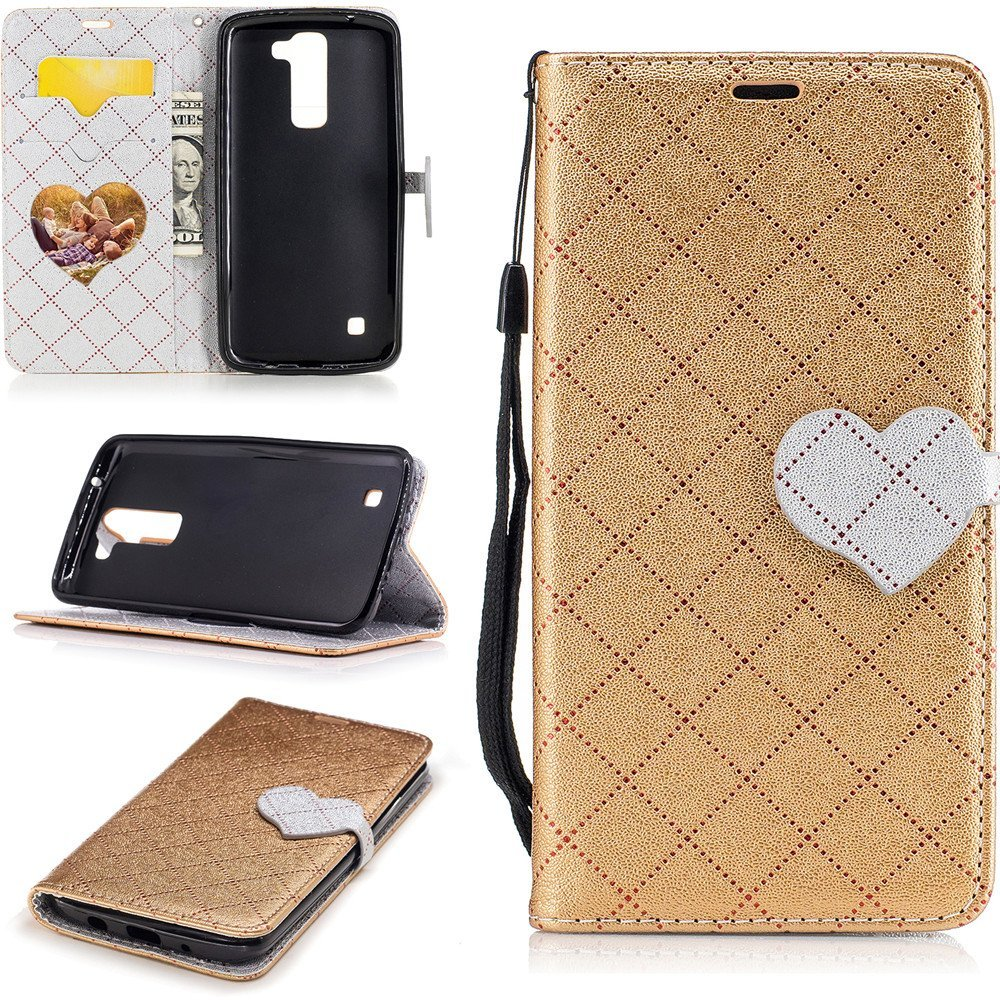 LG K8 Case, LG Escape 3 Case,XYX Love Buckle Contrast Color Leather Folio Flip C