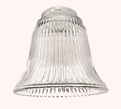 "Ribbed Bell Clear Glass Light Shade 2 1/4"" Wall Sconce Ceiling Fan Chandelier  - $8.95"