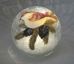 "4.5"" LED Crackle Glass Globe with Bird on Branch Tabletop Holiday Decor - $19.75"