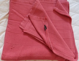 """Ralph Lauren Blanket Throw QUEEN Brick 100% Woven Cotton 90"""" X 90"""" VINTAGE - $89.95"""