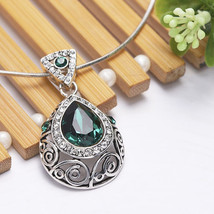 MEXICAN STYLE WHITE GOLD PLATED PATTERN WATER DROP FASHION CRYSTAL NECKL... - $49.99