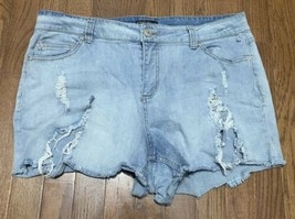 Forever 21 Plus Sizes Cut Off Denim Jean Shorts Size 14 Light Wash Frayed Hems - $15.88