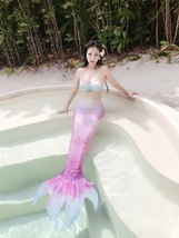 2017 HOT Adult Women Pearl Mermaid Tail With Monofin Summer Vacation Costumes - $65.99+