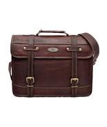 """Vintage Leather Satchel Army Military Messenger Shoulder School Bag 11x15"""" - $59.48"""