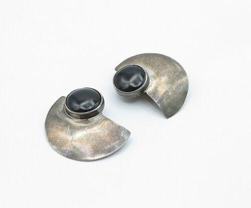 Primary image for 925 Sterling Silver - Vintage Black Onyx Modernist Non Pierce Earrings - E7696