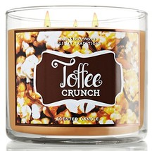 Bath and Body Works Toffee Crunch 3 Wick Candle 14.5 Oz 2012 Design - $41.06