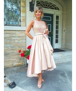 Scoop Light Pink Satin Mother Of the Bride Dresses High Low Women Lace G... - $125.00