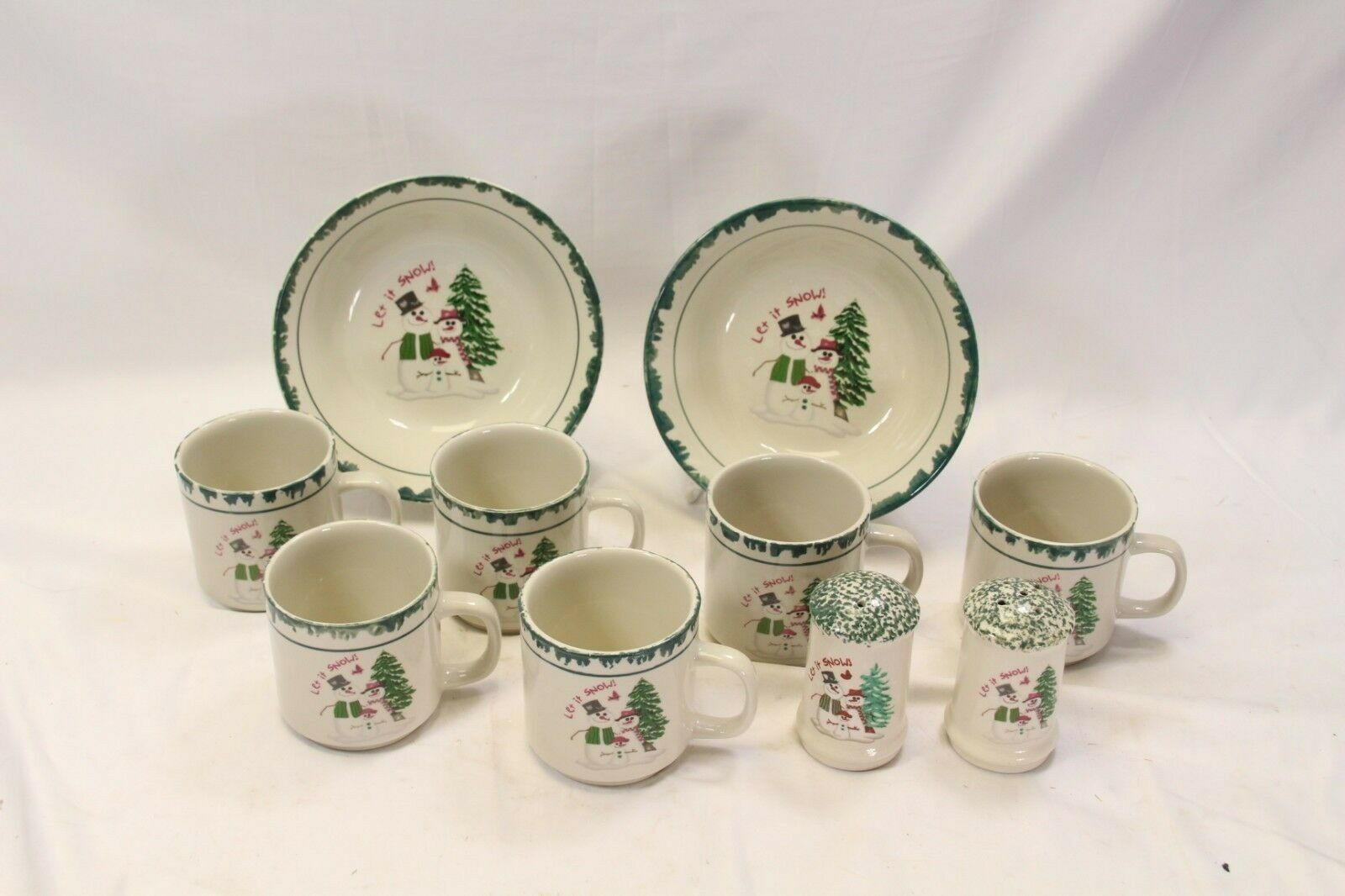 Primary image for Atico Let it Snow Cups Bowls Salt Pepper Lot of 10