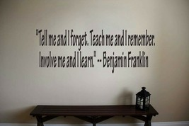 Benjamin Franklin Inspirational Teacher Wall Quote Vinyl Sticker Decal  - $14.99+