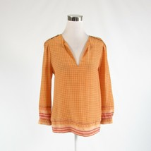 Goldenrod yellow red geometric 100% silk JOIE long sleeve blouse XS - $44.99