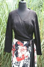 Vtg Lee Stevens of Miami Misses 18 Long Dress Red Floral Black Wrap Tie ... - $87.07