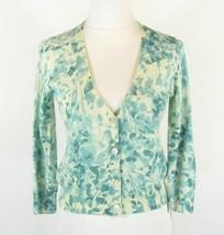 TALBOTS Size S Aqua Floral Merino Wool Button-Down Sweater Cardigan - $12.99