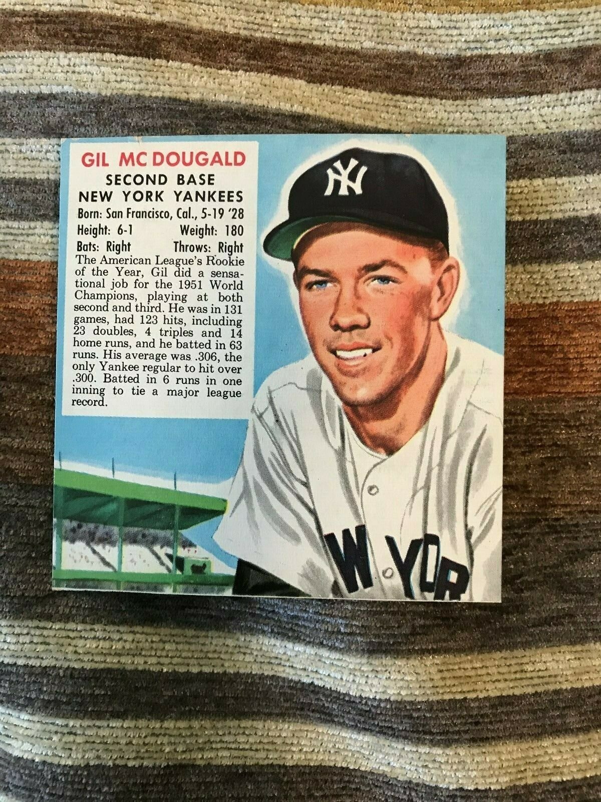 Primary image for 1952 Gil Mc Dougald Red Man Chewing Tobacco baseball card