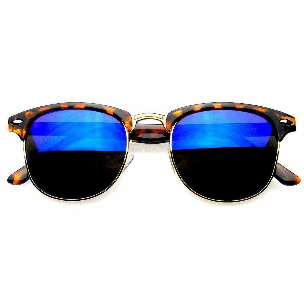 Premium Montura Media de Pasta Gafas de Sol Metal Remaches Gafas de Sol Gafas
