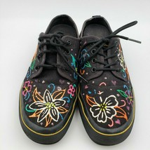 Dr. Martens Jacy Black Canvas Hippy Flowers Acid Shoes Flats Womens Size 9 - $47.51