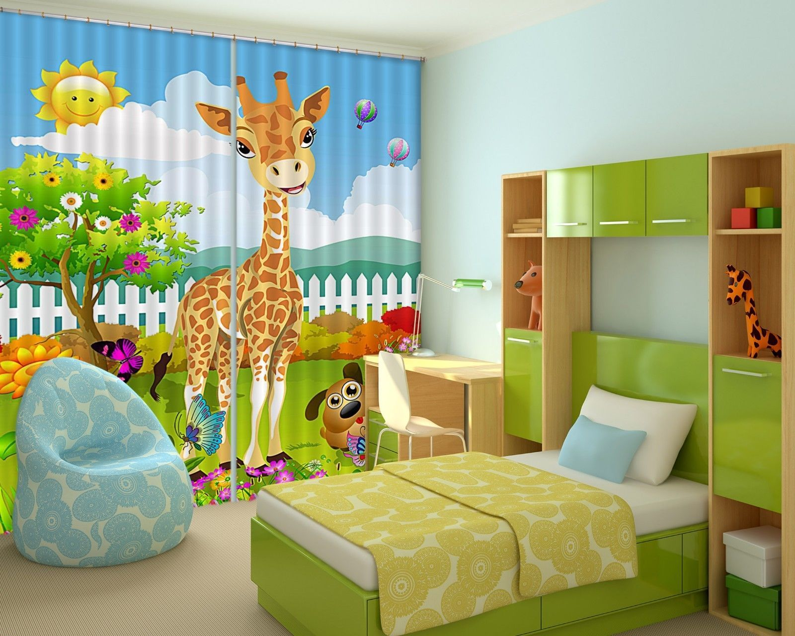 Primary image for 3D Giraffe Anime 01 Blockout Photo Curtain Print Curtains Drapes US Lemon