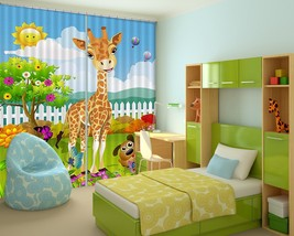 3D Giraffe Anime 01 Blockout Photo Curtain Print Curtains Drapes US Lemon - $177.64+