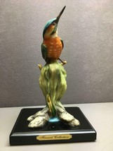 Beautiful Colorful Orange Breasted Green Blue Bird on Plant with Stand - $19.30