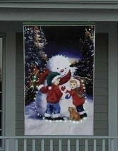 Roman 4' Lighted Snowman With Children Christmas Banner - $79.19