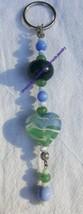 "Heart blue green serpentine w/quartz lampwork cat's eye 6""  handmade key... - $3.00"