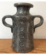 Vtg Mid Century 2 Handle Pewter Toned Abstract Geometric Pottery Flower ... - $100.00