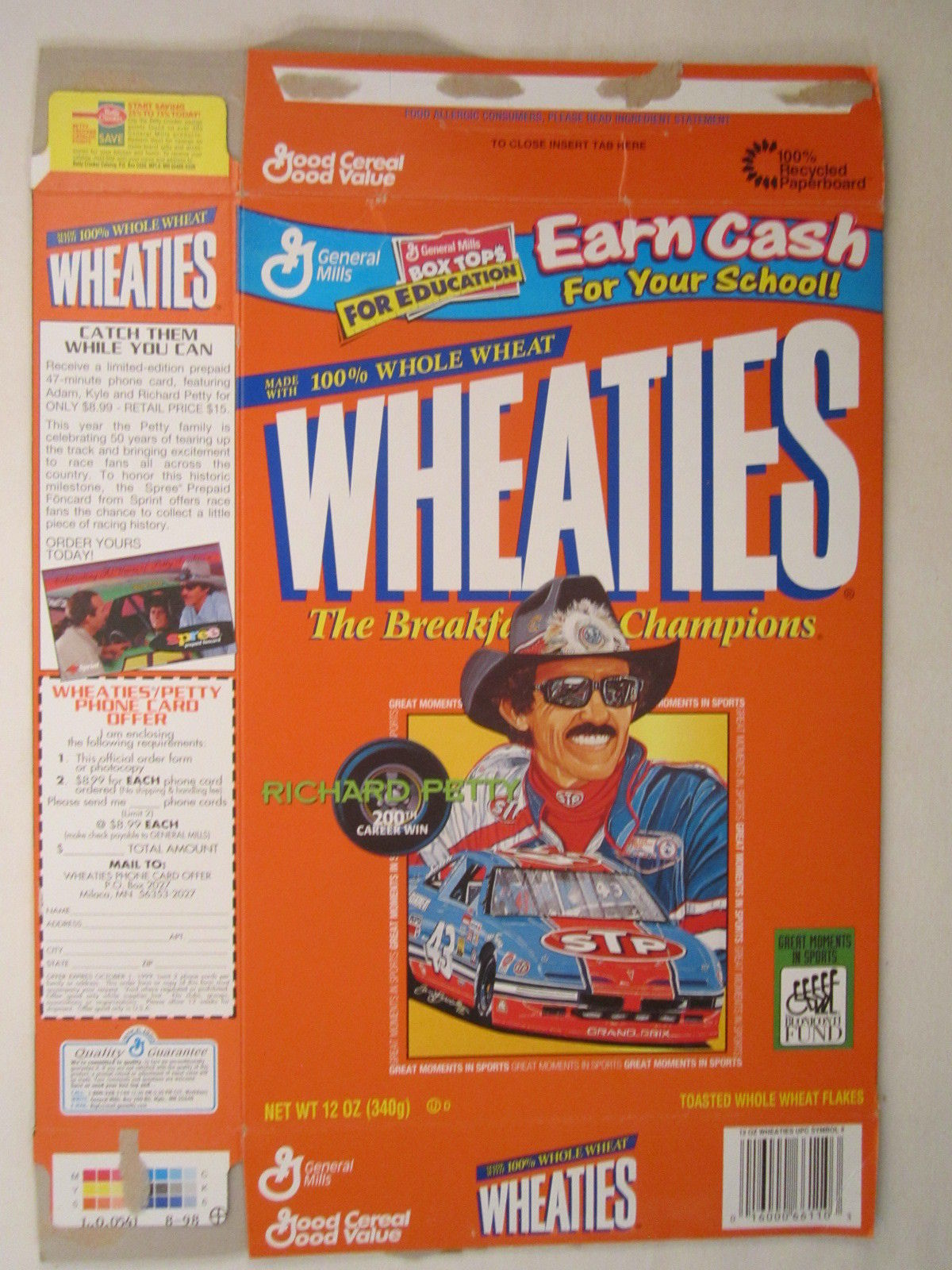 Primary image for Empty WHEATIES Box 1998 12oz RICHARD PETTY 200th Career Win [Z202d4]