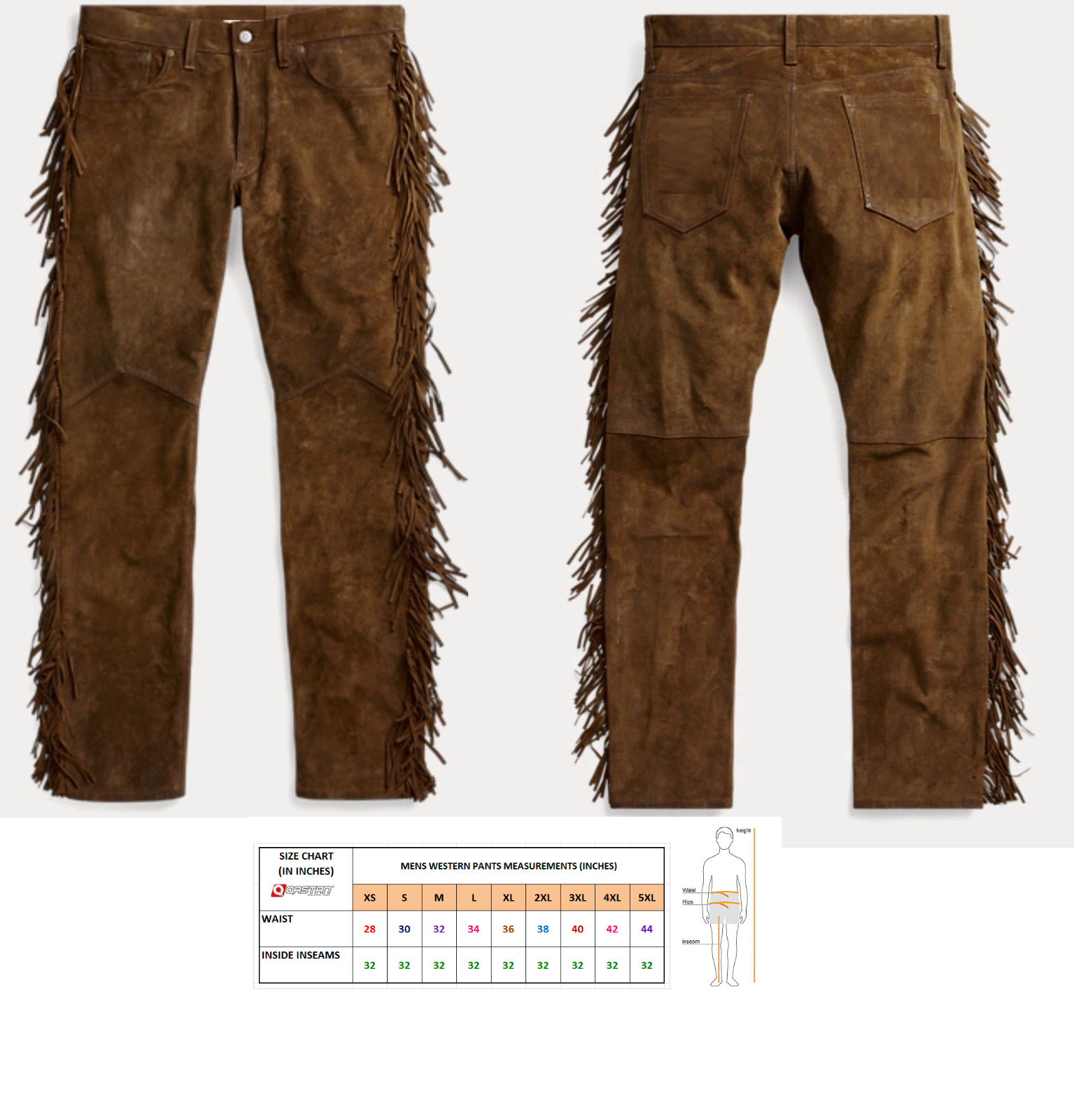 QASTAN Men's New Native American Buckskin Color Suede Leather Fringes Pants WP2