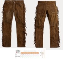 QASTAN Men's New Native American Buckskin Color Suede Leather Fringes Pants WP2 image 1