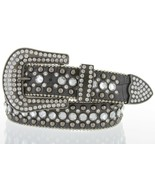 """Rhinestone Cowgirl Bling Woman's Fashion Studded Belt 1.5"""" Wide, Teal Gray - $18.76+"""