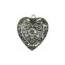 FLORAL HEART FINE PEWTER PENDANT CHARM - 34mm x 29mm x 5mm