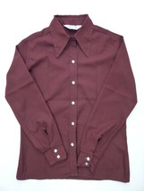 Women's Maroon Red Vintage Polyester Shirt Blouse Size 11 12 - $24.00