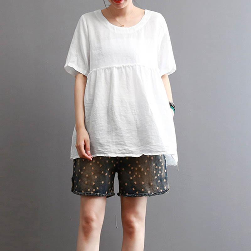 2018 ZANZEA Summer Women O Neck Short Sleeve Cotton Linen Solid Ruffles Blouse C