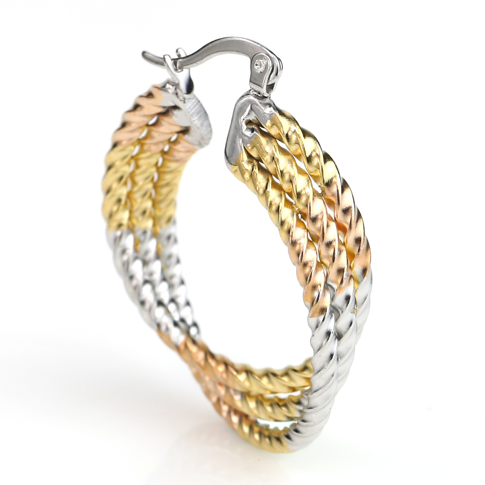 Contemporary Twisted Tri-Color Silver, Gold Hoop Earrings- United Elegance image 2