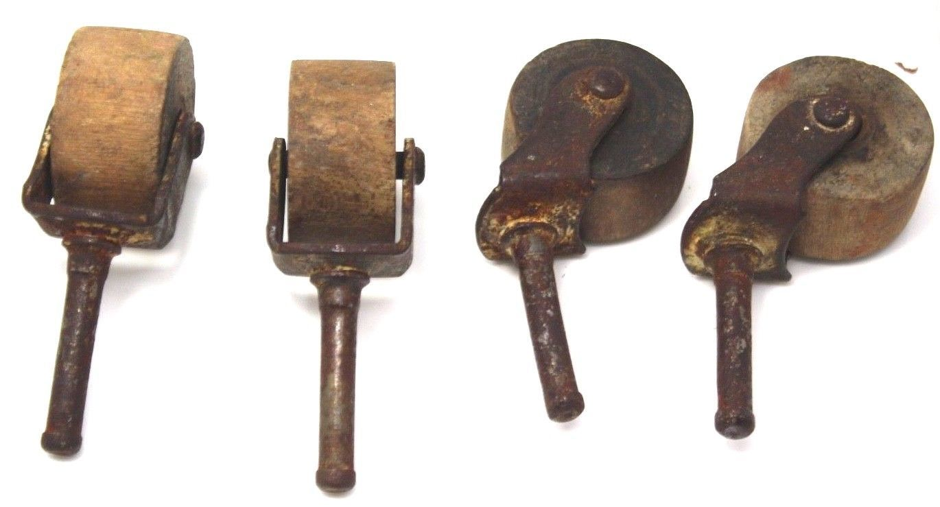 4 Small Antique Wood Wheel Furniture Casters Rollers Parts Salvaged Pieces