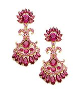 Glass Crystal Flamer Evening Party Statement Earrings Rose Pink Costume ... - $24.99