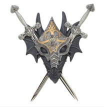 Armored Dragon Wall Crest Metal Shield Plaque Home Decor  - $30.05
