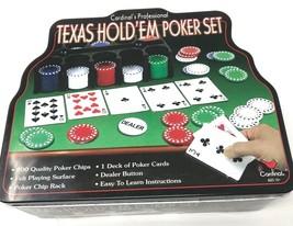 Cardinal Texas Hold'em Professional Poker Chips Set Metal Tin Missing Few Chips - $5.00