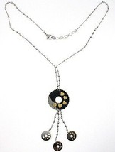 SILVER 925 NECKLACE, CHAIN BALLS, FLOWER, HEARTS, DISCS HANGING, BICOLOR image 2