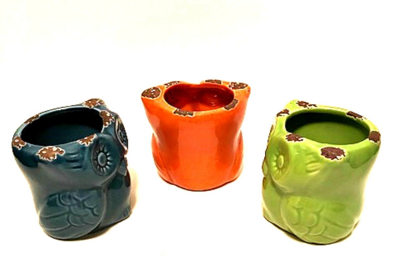 Colorful Owl Candle Holders Set of Three Blue Orange Green Ceramic 3 inches Tall