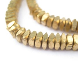 Square Heishi Beads - Brass African Beads-210 Faceted Brass Square Beads - $54.00