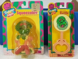 Vintage Barney Playskool Baby Bop Squeezable & Baby Rattle NEW in Packages - $19.99