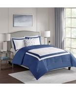 4pc Navy Blue & White Colorblock Reversible Comforter Set AND Decorative... - $104.49