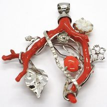 SILVER 925 PENDANT CAMEO CAMEO, BRANCH OF RED CORAL, FLOWERS, LEAF image 5