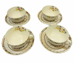 Spode Cowslip 4 Cups And Saucers Vintage England Floral Basketweave Design EUC - $39.59