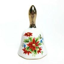 Vintage Enesco China Bell Birthday December Poinsettia Joyous Gold Handl... - $14.59