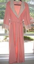 Vintage Vanity Fair Peach Pink Ivory Lace Heavy Robe Sz M - $69.29