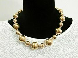 Vintage Signed Napier Gold Tone Ball Bead Necklace  Big Chunky Estate Je... - $54.00