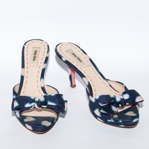 MIU MIU Canvas Blue High Heel Flip Flop Sandals Open Toe Stilettos Mules... - $155.36