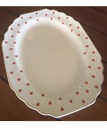 GEORGE LIDO 1950's WS Blushing Rose Red Flowers Oval Serving Platter Plate - $27.60